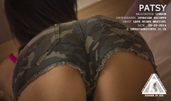 Closeup of Tight Bum in Army Hot Pants